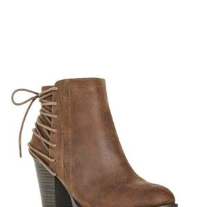 JustFab Brown Monty Lace booties